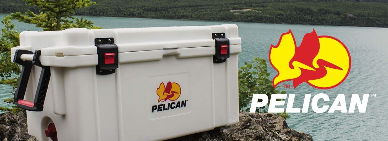 Pelican white cooler with Pelican logo