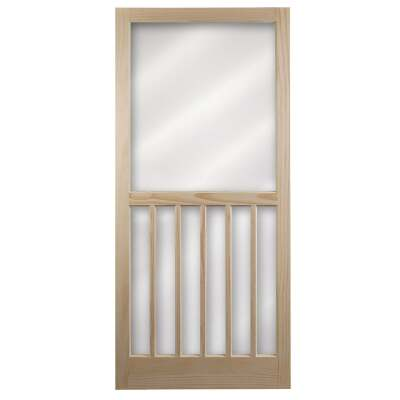 Snavely Kimberly Bay 32 In. W x 80 In. H x 1-1/8 In. Thick Stainable Natural 5-Bar Wood Screen Door