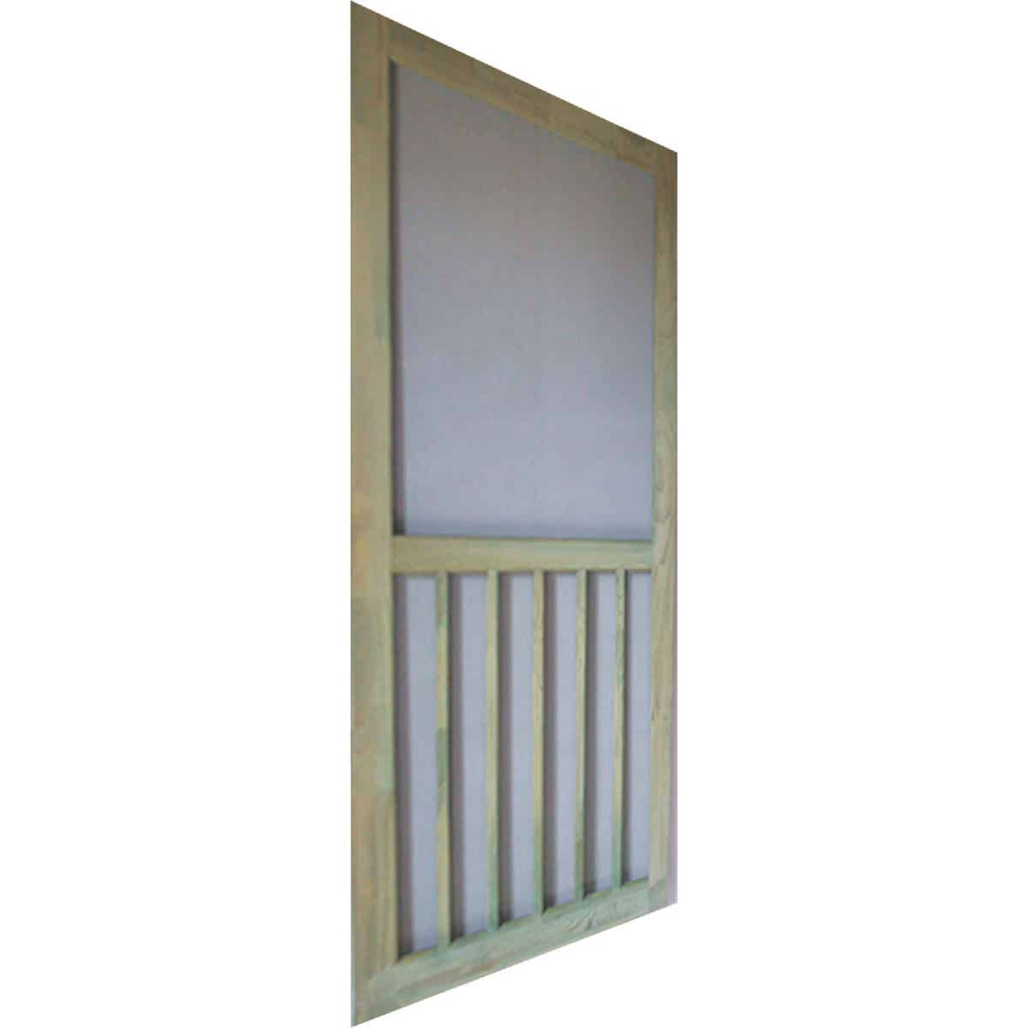Snavely Kimberly Bay 36 In. W x 80 In. H x 1-1/8 In. Thick ACQ Treated Natural Finger Joint Pine Stiles & Rails 5-Bar Screen Door Image 1
