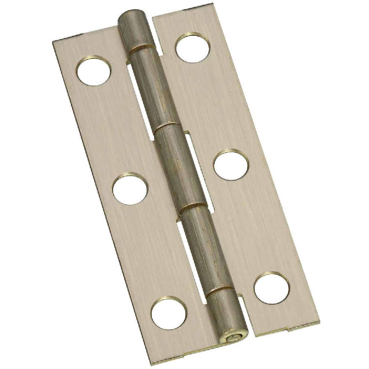 National 1-1/8 In. x 2-1/2 In. Antique Brass Narrow Decorative Hinge (2-Pack) Image 1