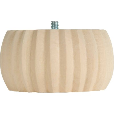Waddell 2 In. x 4 In. Reeded Hardwood Bun Foot