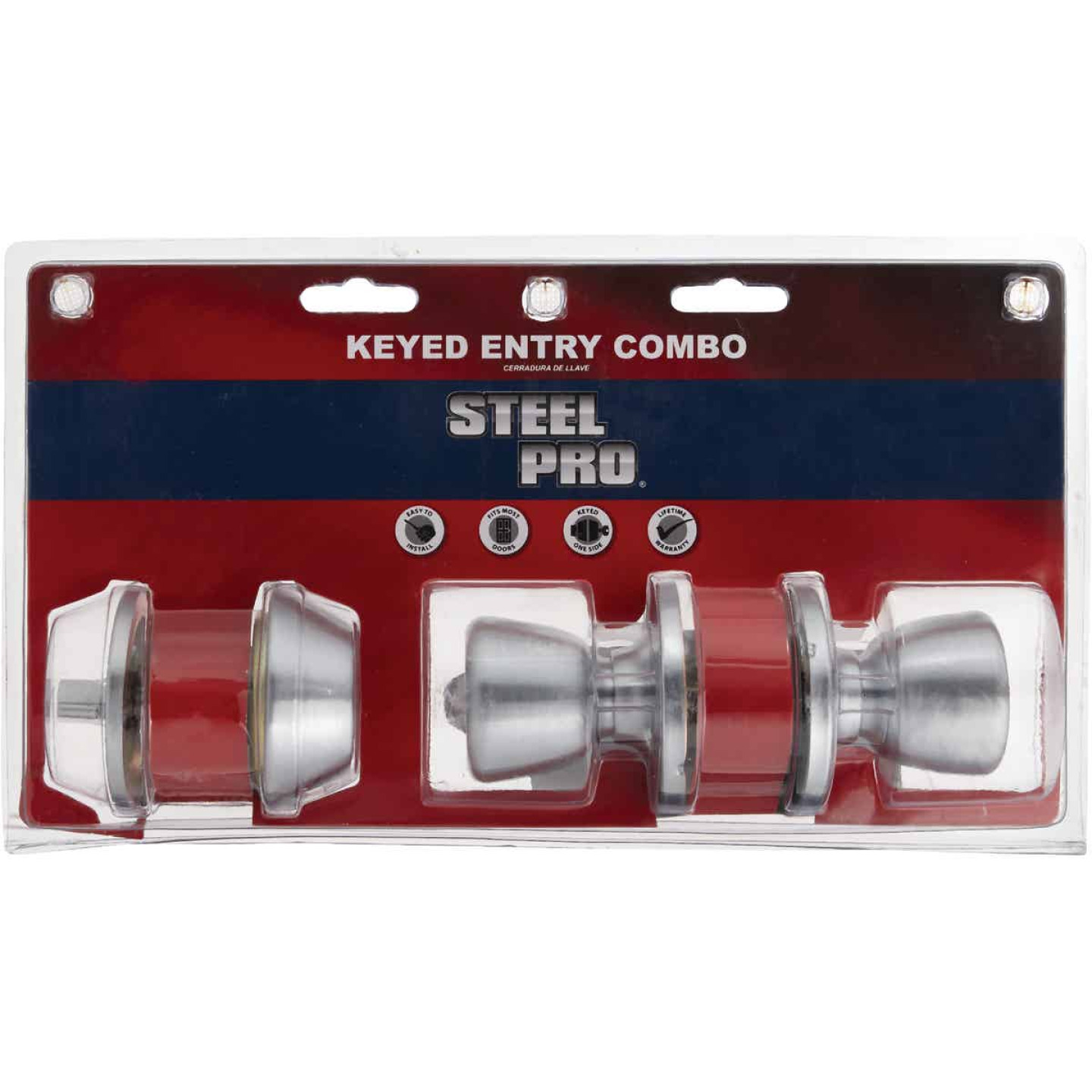 Steel Pro Satin Chrome Deadbolt and Door Knob Combo Image 2