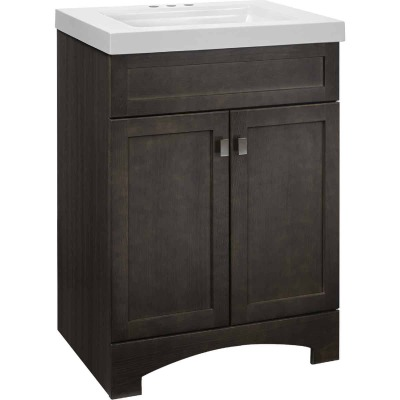 Continental Cabinets Davison Gray 24-1/2 In. W x 35-1/2 In. H x 18-3/4 In. D Vanity with White Cultured Marble Top