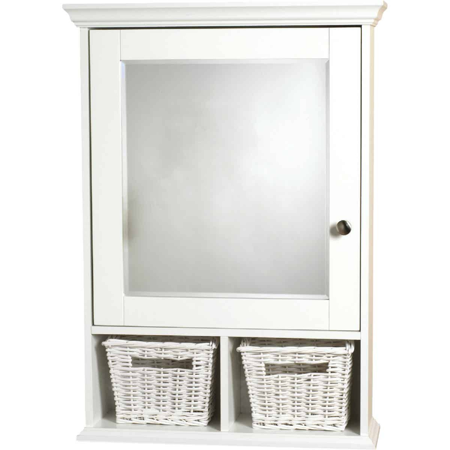 Zenith White 21 In. W x 29 In. H x 6-1/2 In. D Single Mirror Surface Mount Medicine Cabinet with Baskets Image 1