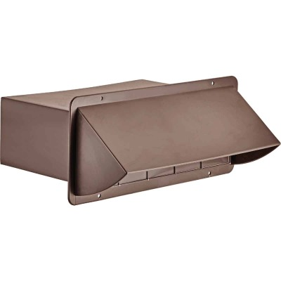Lambro 3-1/4 In. x 10 In. Brown Plastic Kitchen Wall Vent Cap with Damper