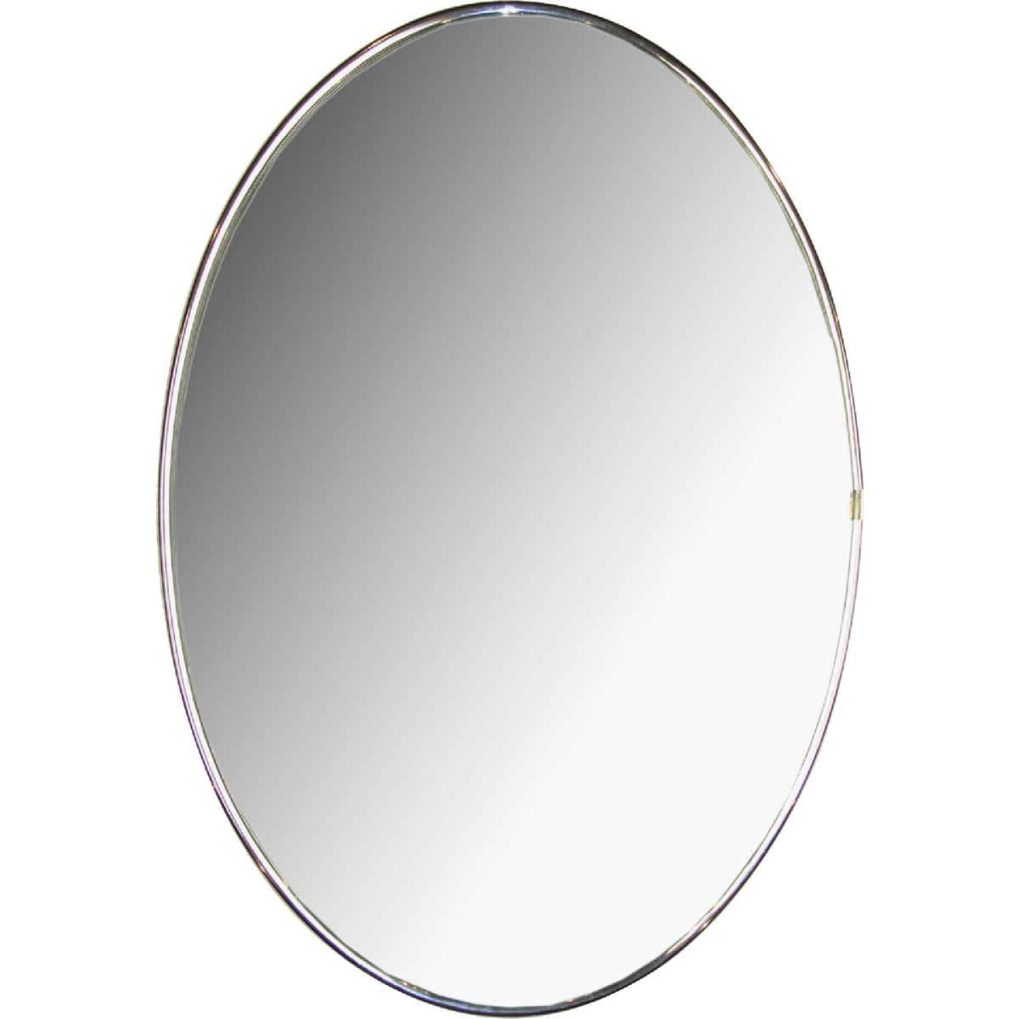 Erias Home Designs Elmvale 15 In. W. x 22 In. H. Chrome Mylar Flat Edge Oval Wall Mirror Image 1