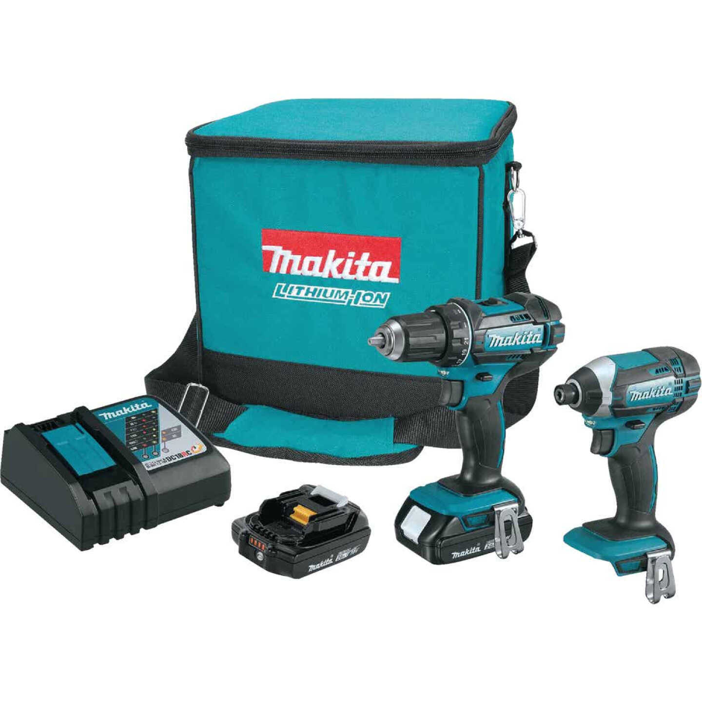 Makita 2-Tool 18V LXT Lithium-Ion Drill/Driver & Impact Driver Cordless Tool Combo Kit Image 1
