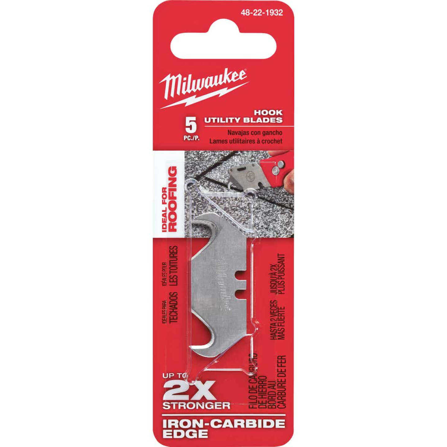 Milwaukee 2-Ended Hook 1-7/8 In. Utility Knife Blade (5-Pack) Image 2