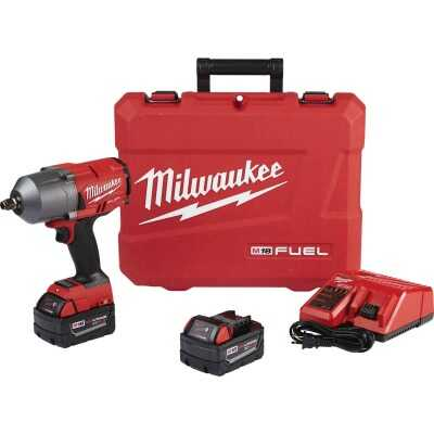 Milwaukee M18 FUEL 18-Volt Lithium-Ion Brushless 1/2 In. High Torque Cordless Impact Wrench Kit with Friction Ring Kit