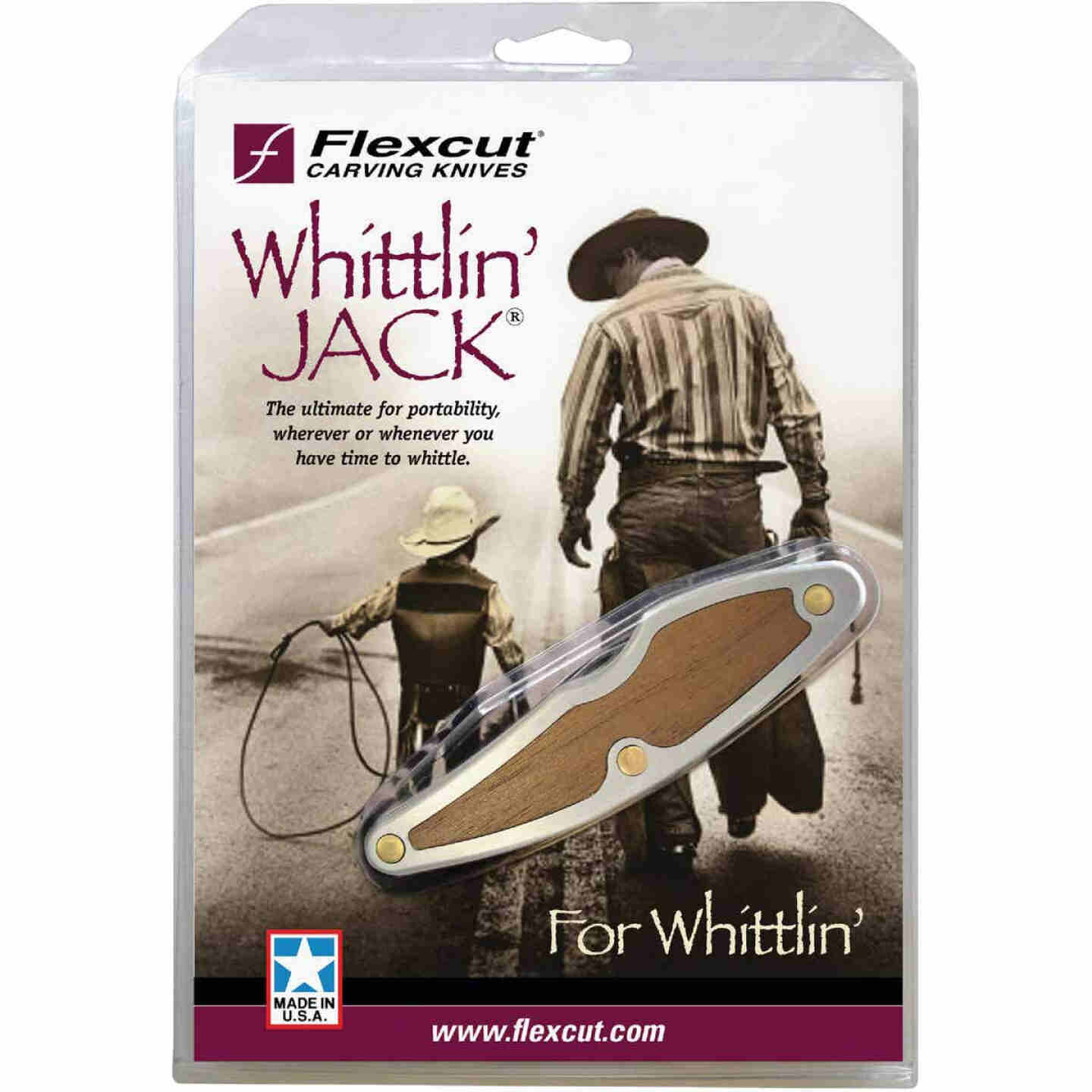 Flexcut Whittlin' Jack Carving Knife with 1-1/2 In. Detail & 2 In. Roughing Blades Image 1