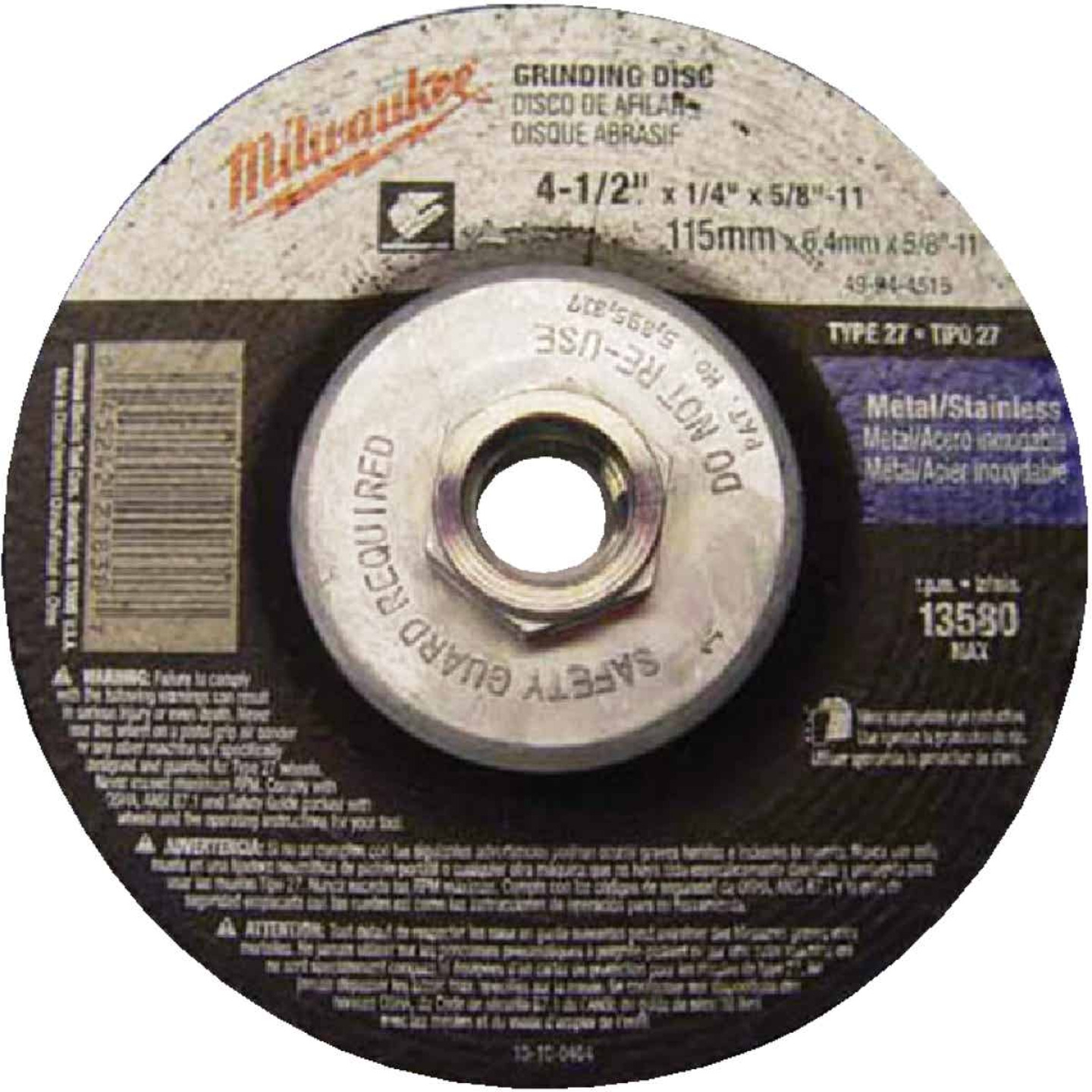Milwaukee Type 27 4-1/2 In. x 1/4 In. x 5/8 In. Metal/Stainless Grinding Cut-Off Wheel Image 1