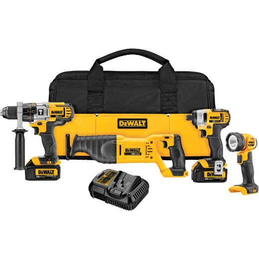 DeWalt 4-Tool 20V MAX XR Lithium-Ion Hammer Drill, Reciprocating Saw, Impact Driver & Work Light Cordless Tool Combo Kit