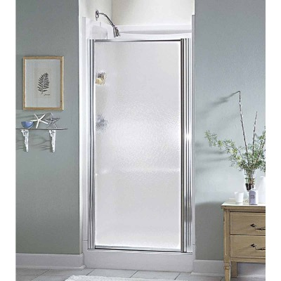 Sterling 28-1/2 In. W. X 64 In. H. Chrome Hammered Glass Standard Pivot Shower Door