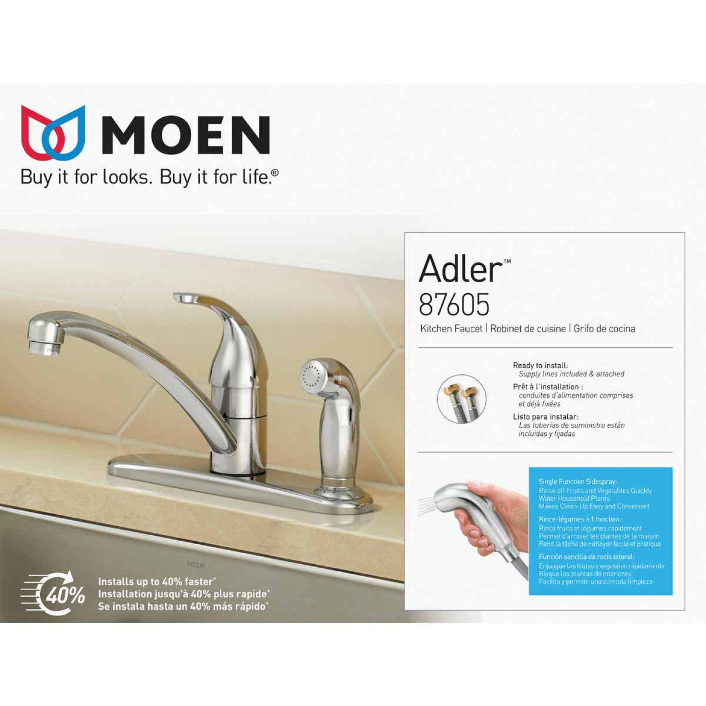 Moen Adler Single Handle Lever Kitchen Faucet with Deck Plate Spray, Chrome Image 1