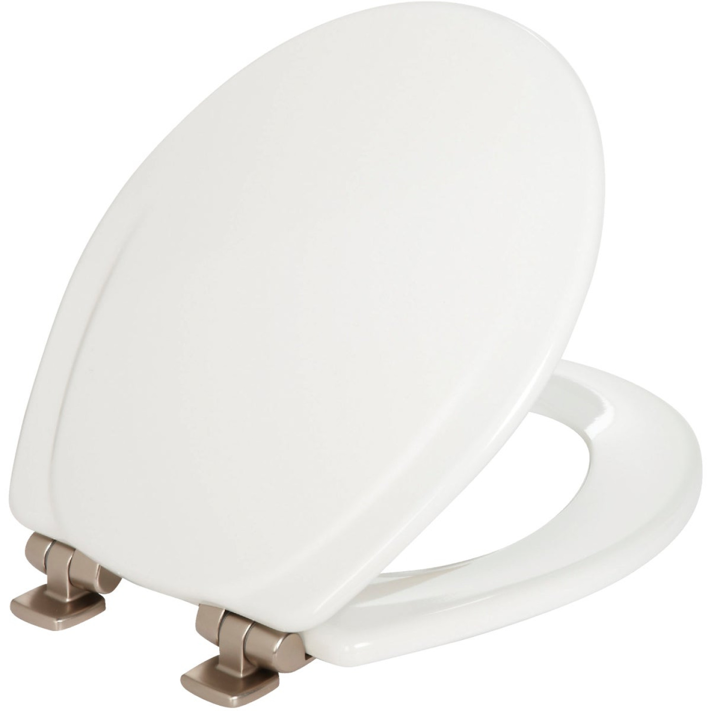 Mayfair Round Closed Front Slow Close White Wood Toilet Seat Image 1