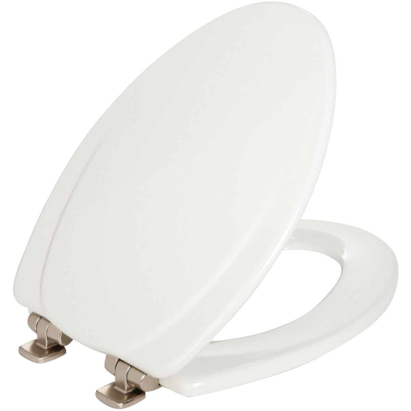 Mayfair Elongated Closed Front Slow Close White Wood Toilet Seat Image 1