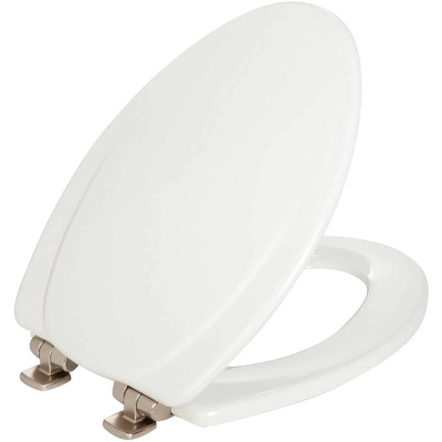 Mayfair Elongated Closed Front Slow Close White Wood Toilet Seat