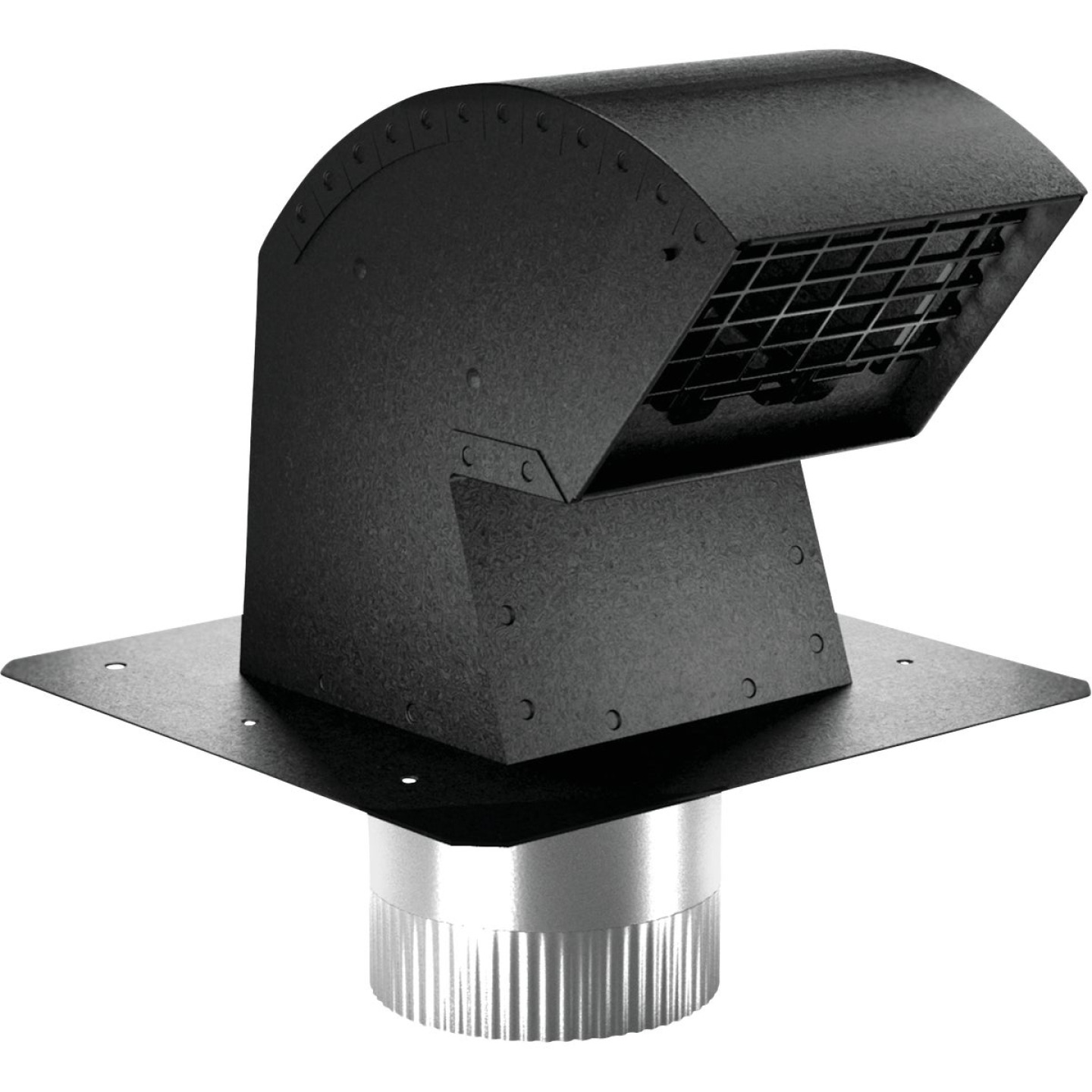 Imperial 4 In. Black Aluminum R-2 Premium Roof Vent Cap with Collar Image 1