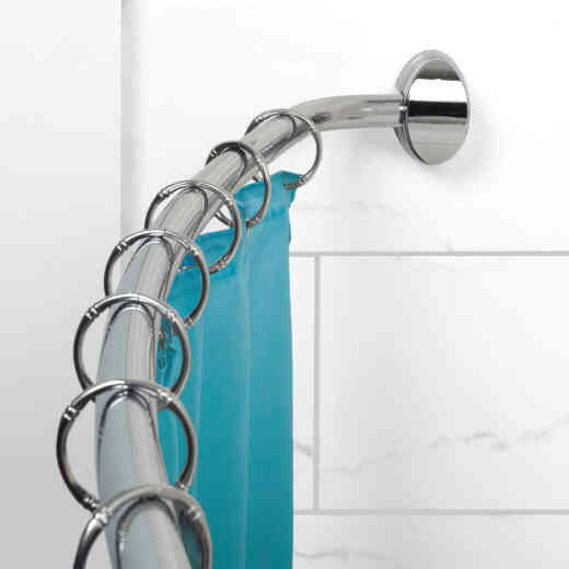 Zenith Zenna Home Curved 60 In. To 72 In. Adjustable Fixed Shower Rod in Chrome