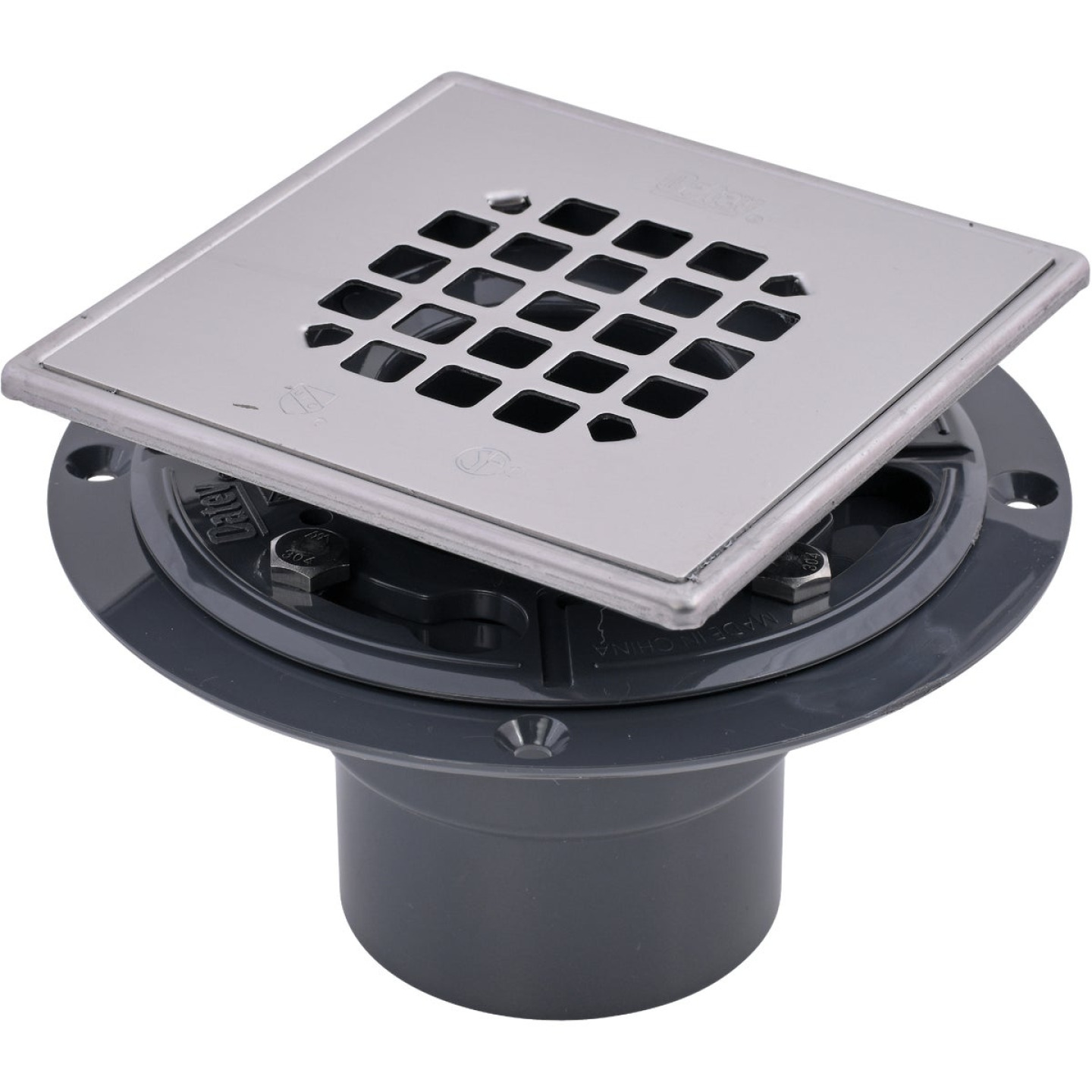 Oatey 2 In. or 3 In. PVC 130 Shower Drain for Tile Installations with 4-1/4 In. Stainless Steel Strainer Image 1