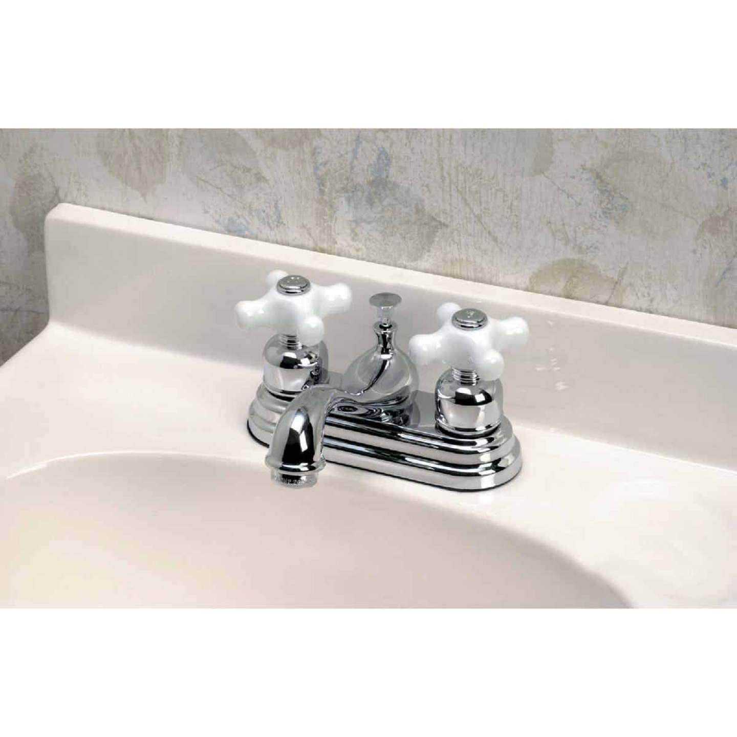 Home Impressions Chrome 2-Handle Cross Knob 4 In. Centerset Bathroom Faucet with Pop-Up Image 2