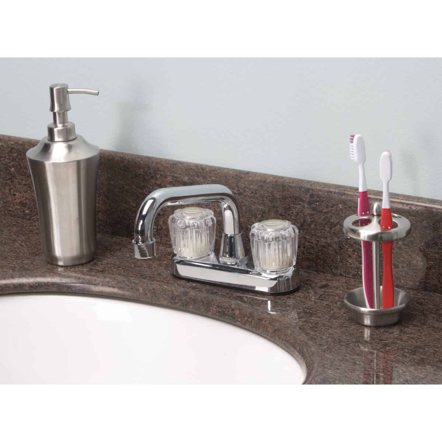 Home Impressions Chrome 4 In. Center 2-Handle Laundry Faucet Image 2