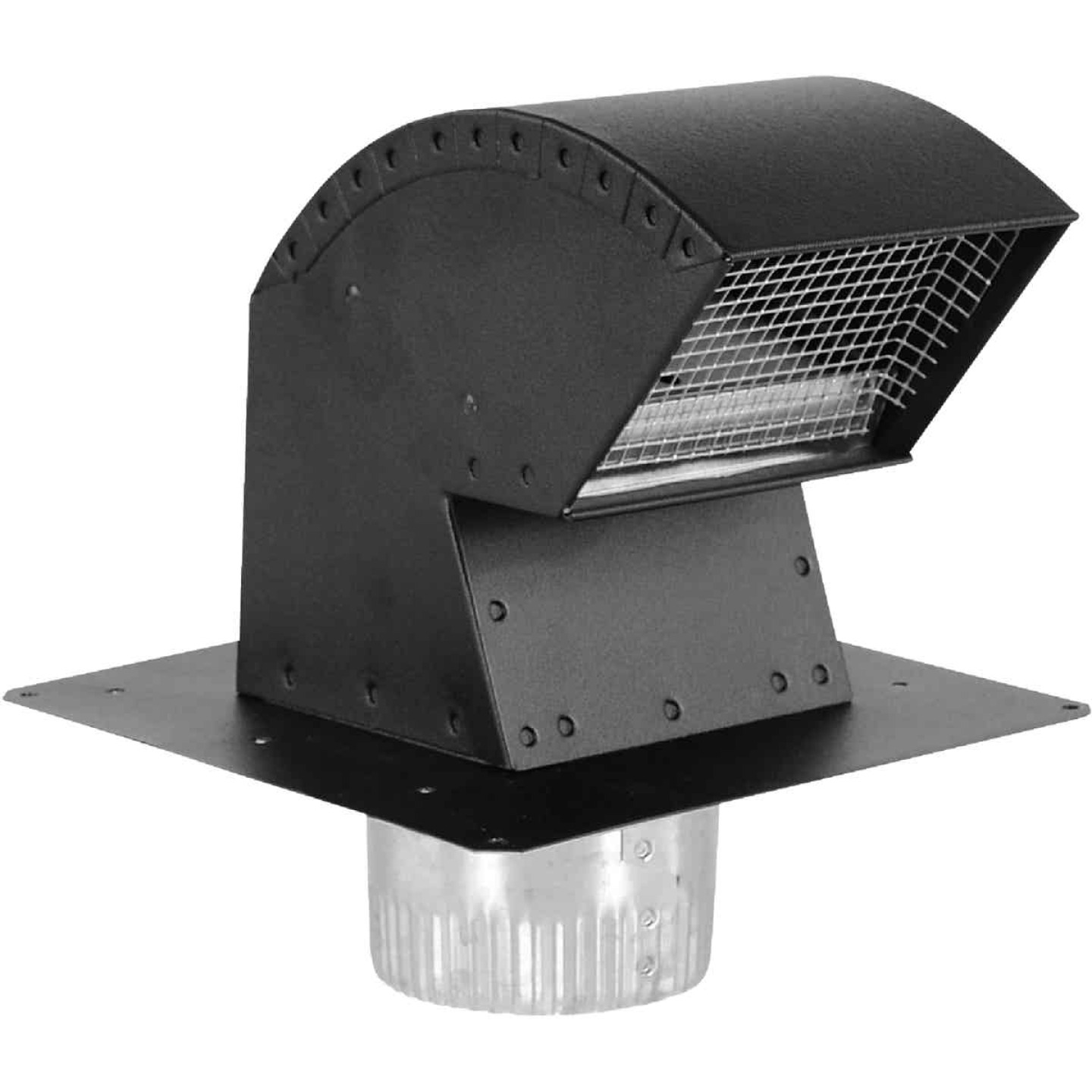 Imperial 6 In. Black Aluminum R-2 Premium Roof Vent Cap with Collar Image 1
