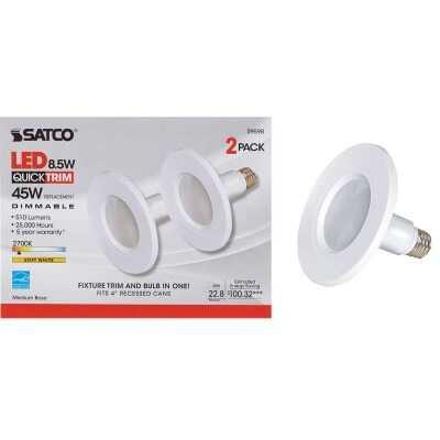 Satco 4 In. Retrofit White LED Recessed Light Kit (2-Pack)