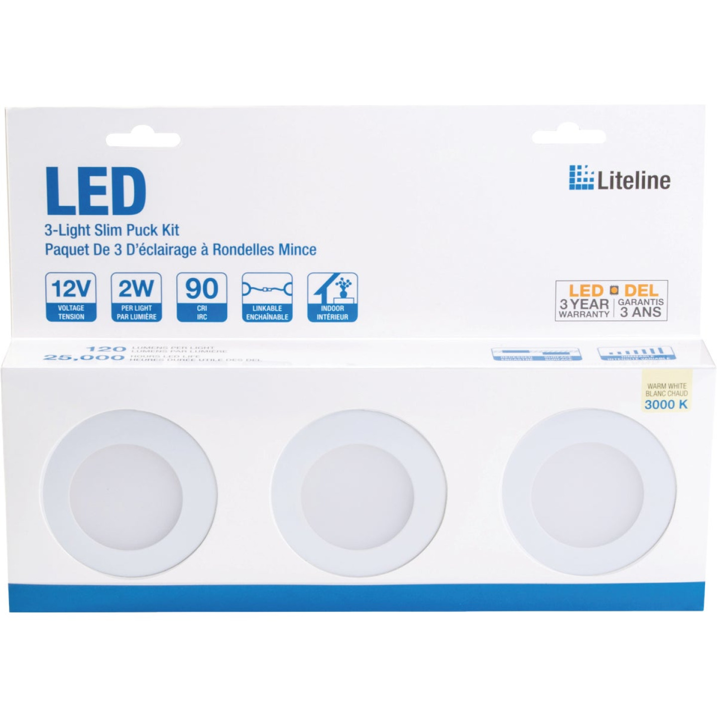 Liteline 3 In. Dia. X 1/4 In. Thick Plug-In White LED Under Cabinet Puck Light Kit (3-Pack) Image 2