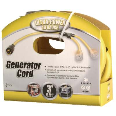 Coleman Cable Ultra-Power 3 Ft. 10/4 Generator Cord