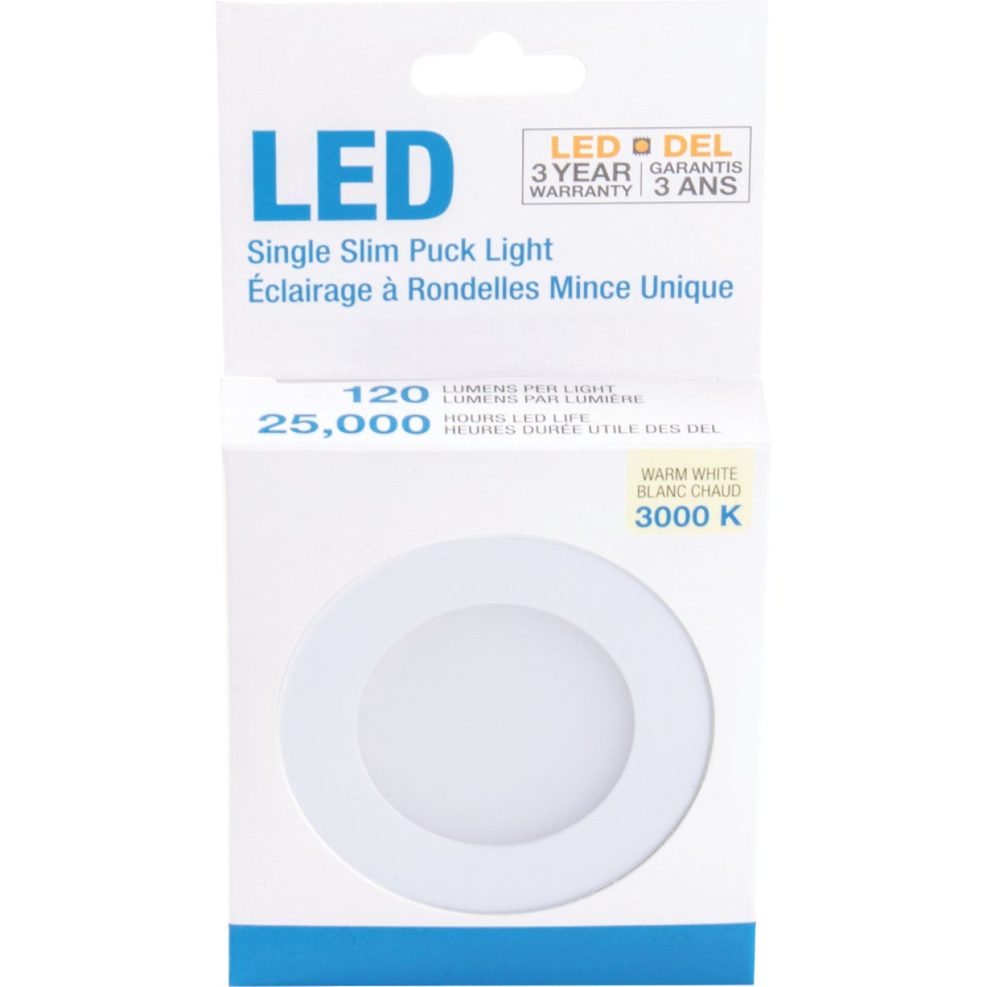 Liteline 3 In. Dia. X 1/4 In. Thick Plug-In White LED Under Cabinet Puck Light Image 2
