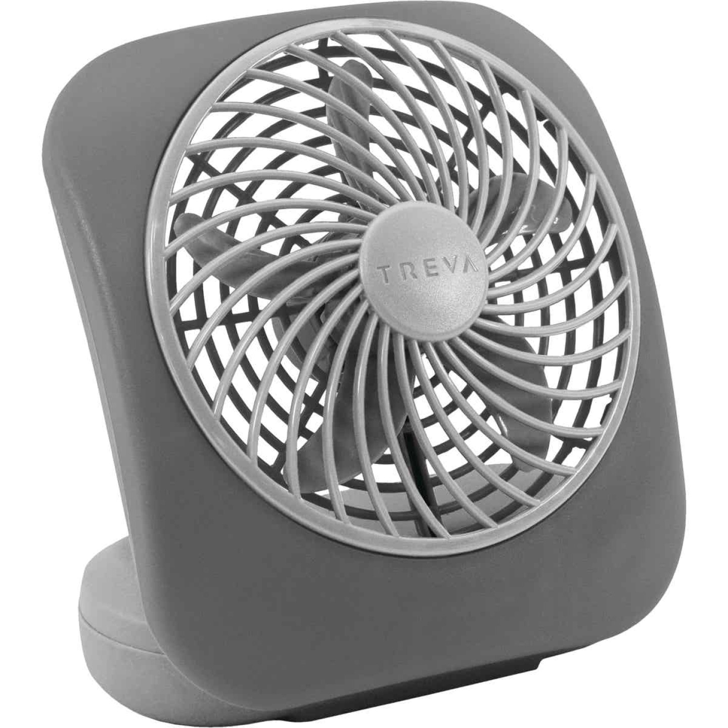 Treva 5 In. 2-Speed Gray Battery Operated Table Fan Image 1