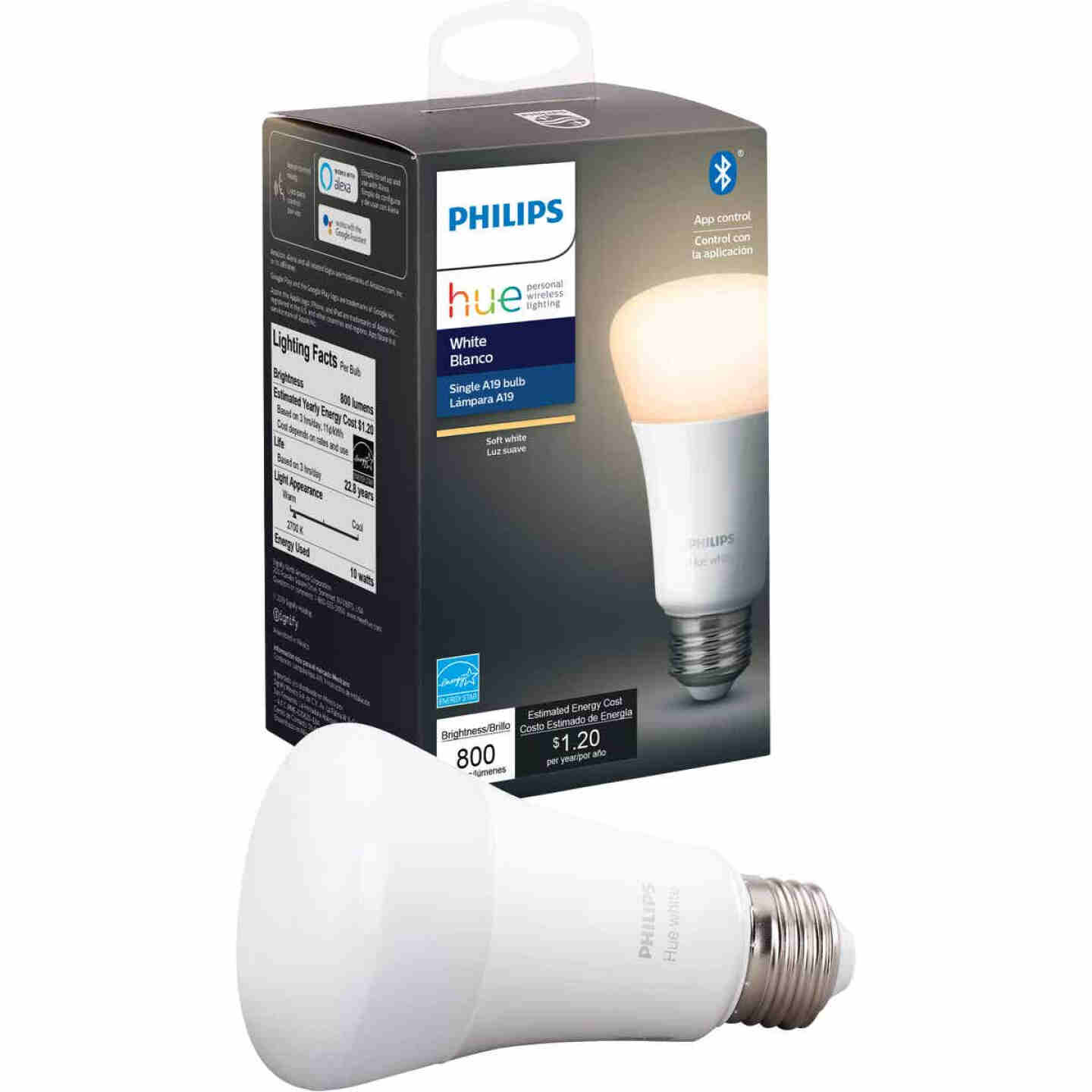 Philips Hue 60W Equivalent Warm White A19 Medium Dimmable LED Smart Light Bulb Image 1