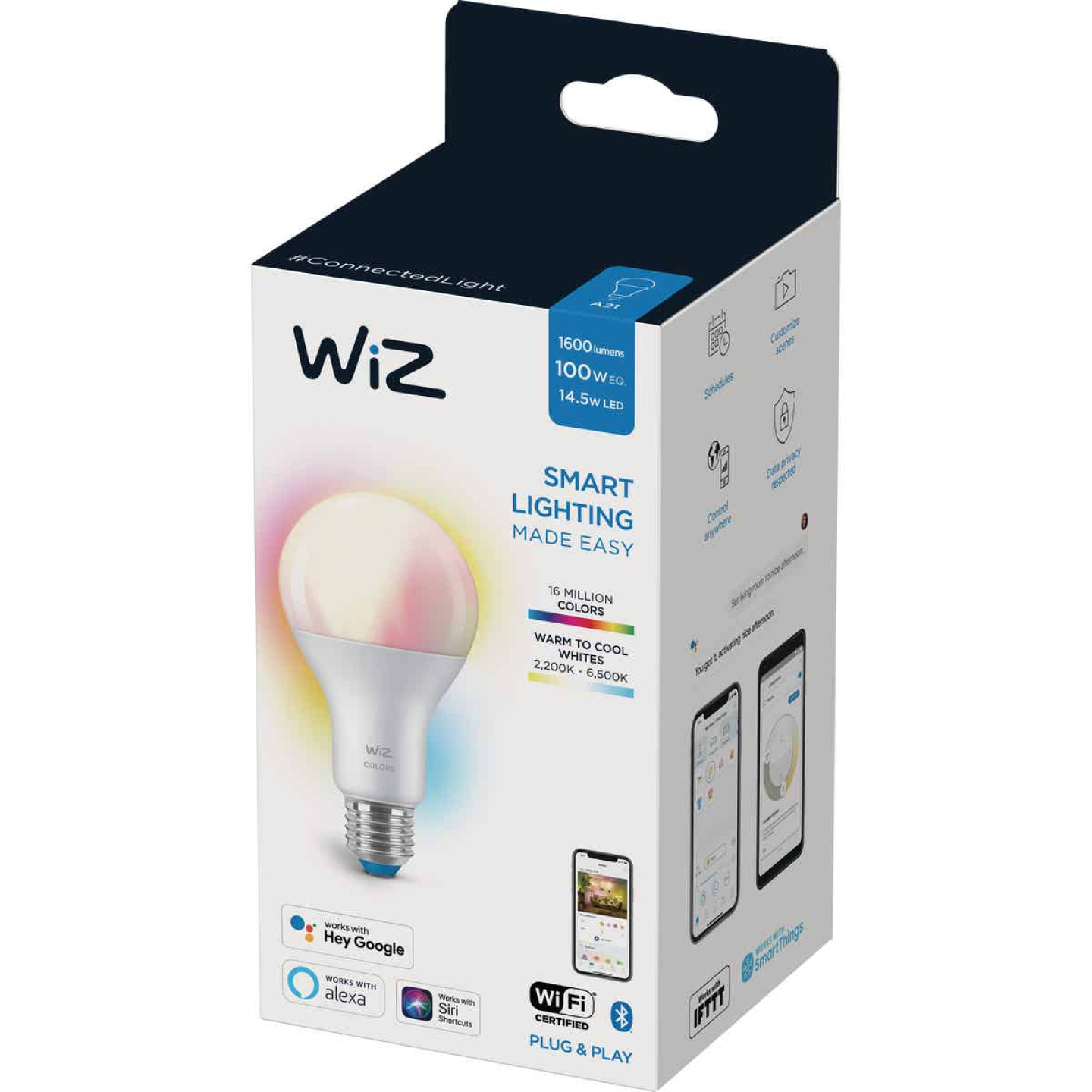 Wiz 100W Equivalent Color Changing A21 Medium Dimmable Smart LED Light Bulb Image 1