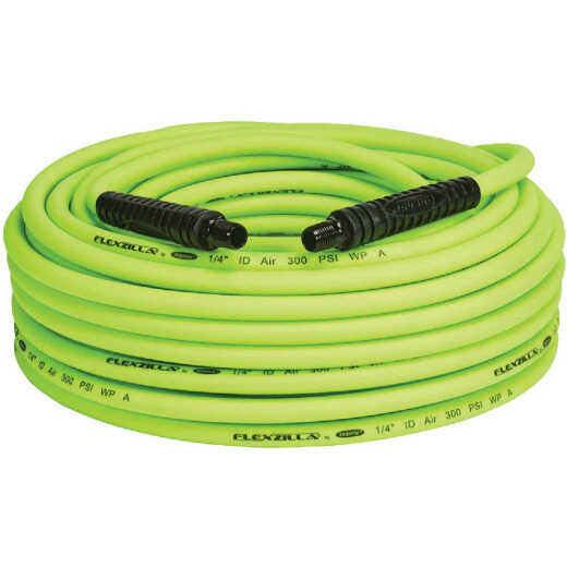 Flexzilla 1/4 In. x 100 Ft. Polymer-Blend Air Hose with 1/4 In. MNPT Fittings