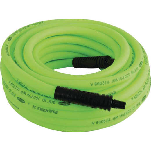 Flexzilla 3/8 In. x 100 Ft. Polymer-Blend Air Hose with 1/4 In. MNPT Fittings