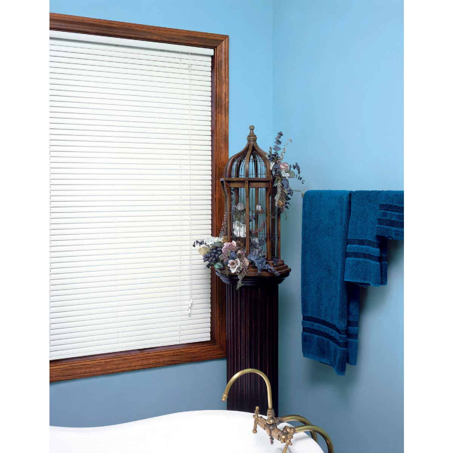 Home Impressions 60 In. x 64 In. White Vinyl Light Filtering Corded Mini-Blinds Image 2