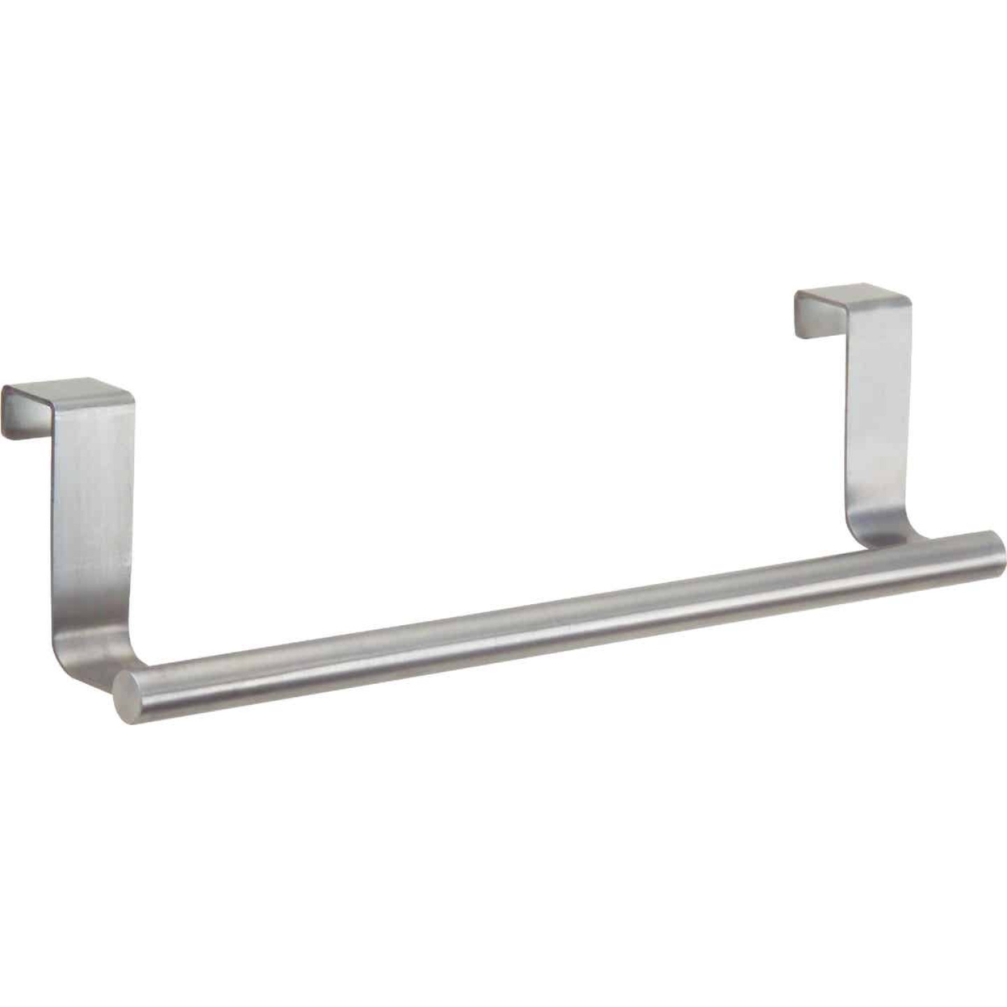 InterDesign Zia 9-1/4 in. Brushed Stainless Steel Over The Cabinet Towel Bar Image 1