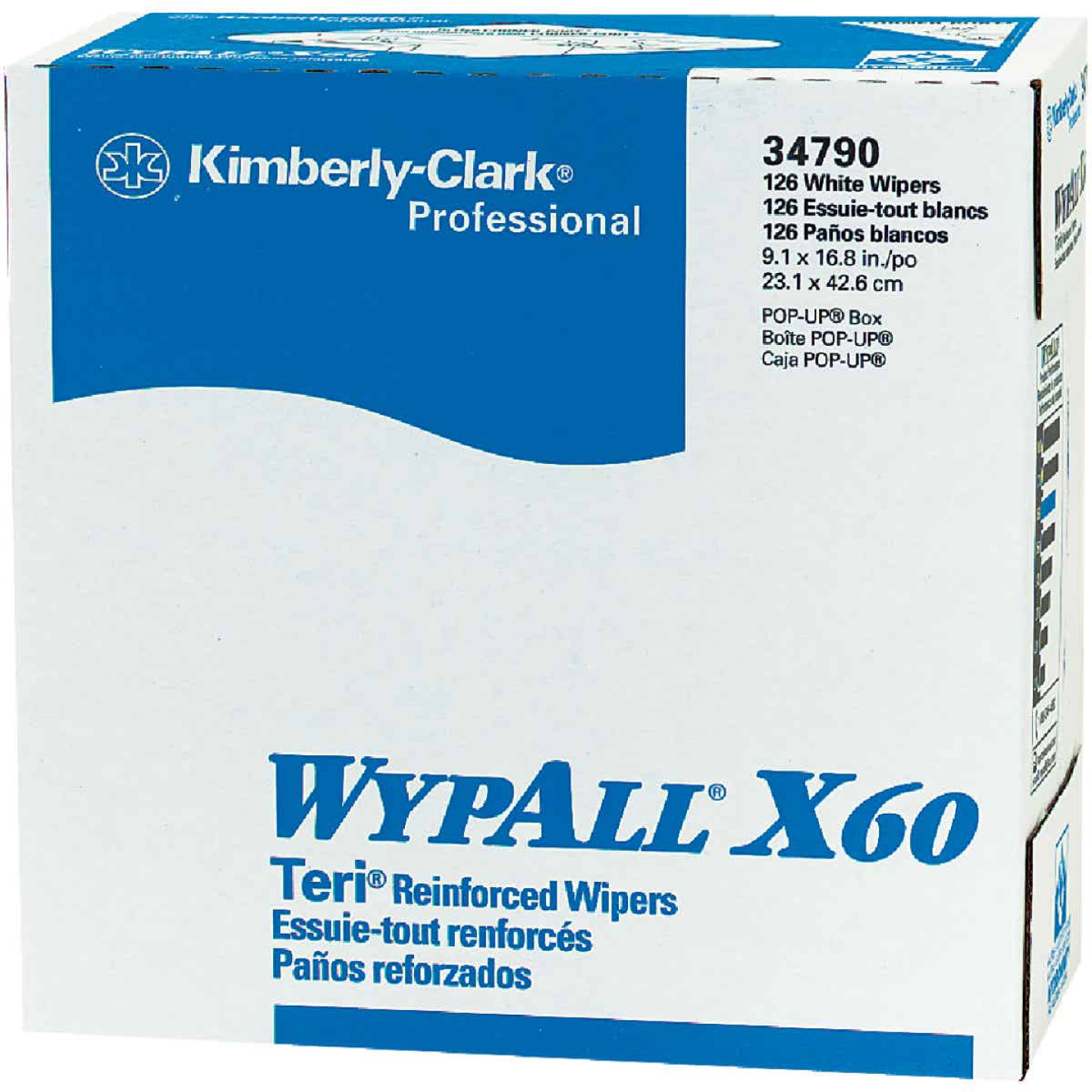 Kimberly Clark Wypall X60 White Pop-Up Teri Wiper Hand Towel (10 Count) Image 1