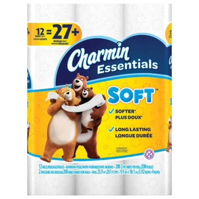 Charmin Essentials Soft Toilet Paper (12 Giant Rolls)