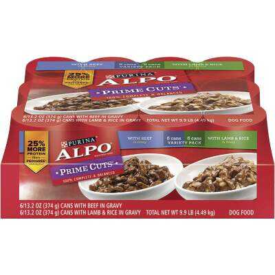 Alpo Prime Cuts Beef and Lamb & Rice Wet Dog Food, 12 Cans
