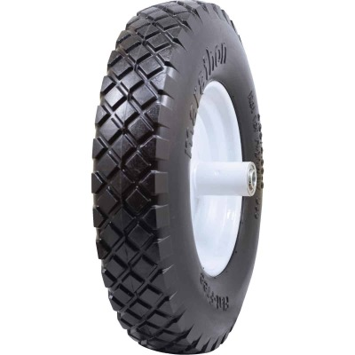 Marathon 16 x 480/400-8 In. Flat Free Wheelbarrow Wheel with Knobby Tread