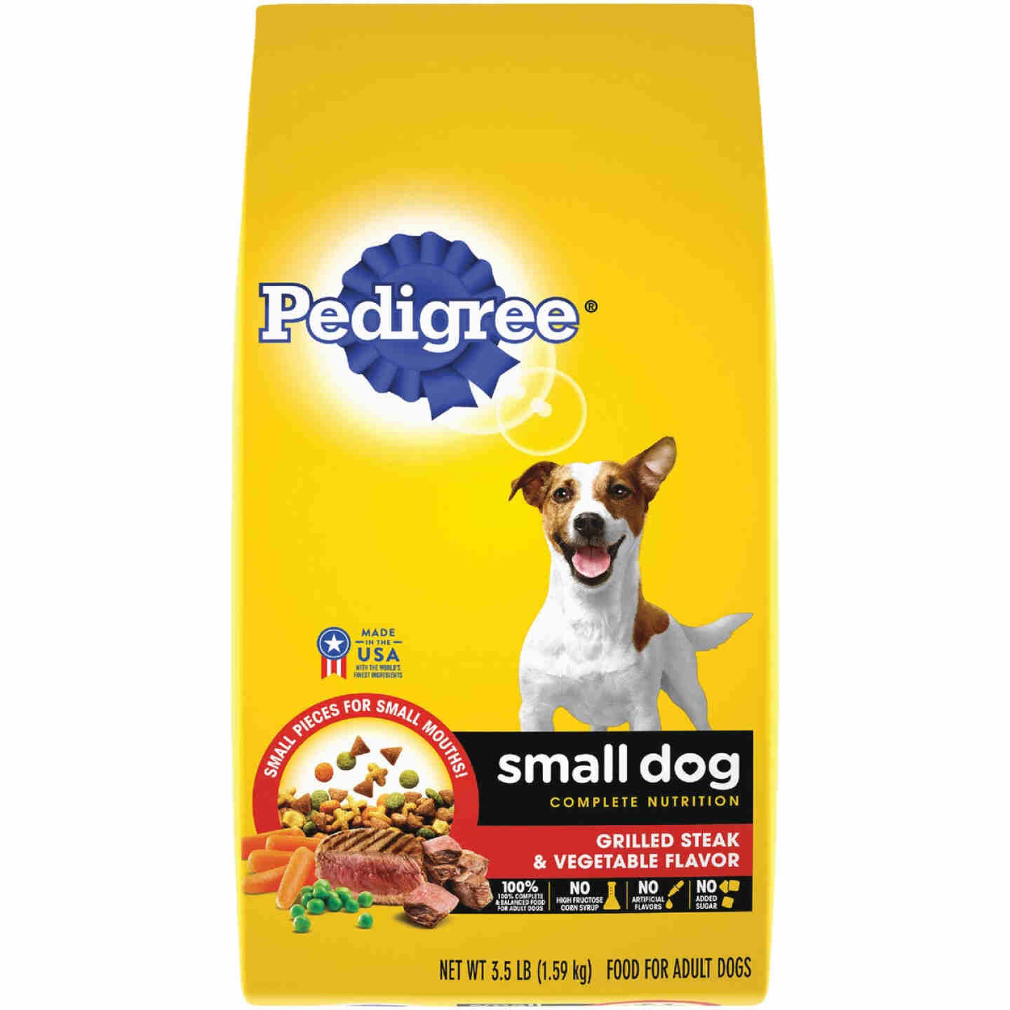Pedigree Small Dog Complete Nutrition 3.5 Lb. Grilled Steak Vegetable Adult Dry Dog Food Image 1