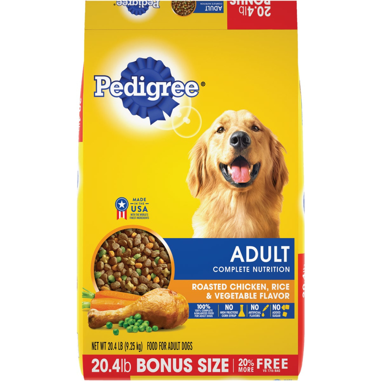 Pedigree Complete Nutrition 20.4 Lb. Roasted Chicken, Rice, & Vegetable Adult Dry Dog Food Image 1