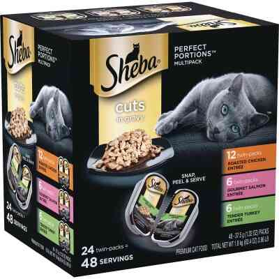 Sheba Perfect Portions Cuts in Gravy Roasted Chicken/Salmon/Tender Turkey Adult Wet Cat Food (24-Pack)