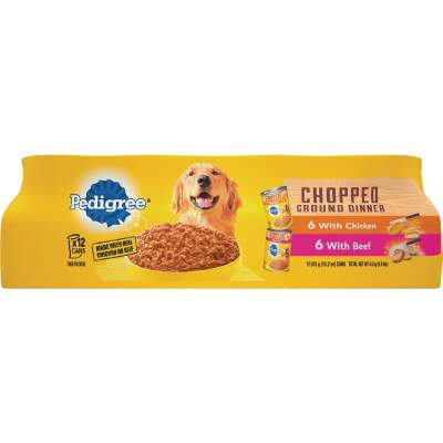 Pedigree Traditional Chopped Ground Dinner Chicken/Beef Variety Wet Dog Food (12-Pack)