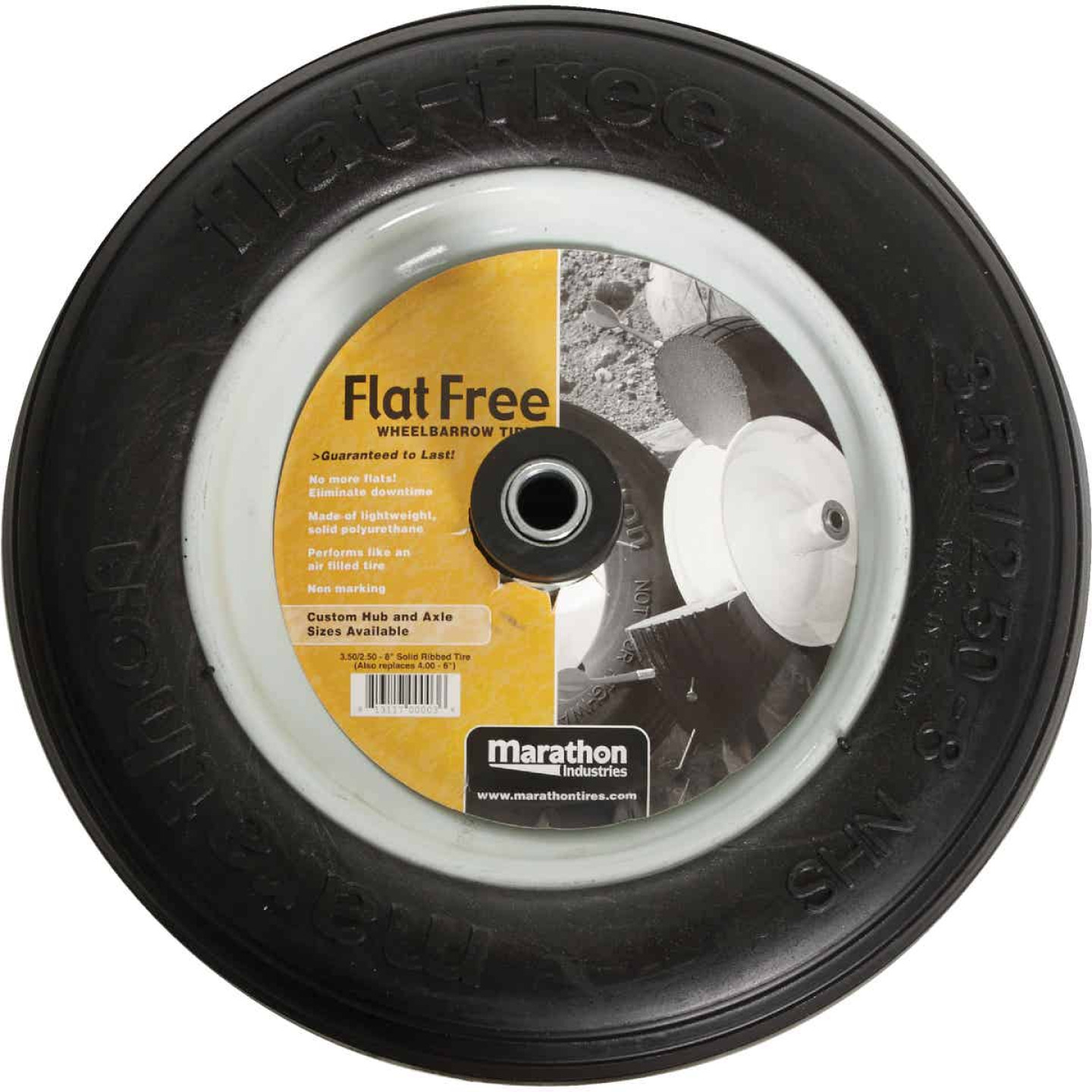 Marathon 13 x 350/250-8 In. Flat Free Wheelbarrow Wheel Image 2