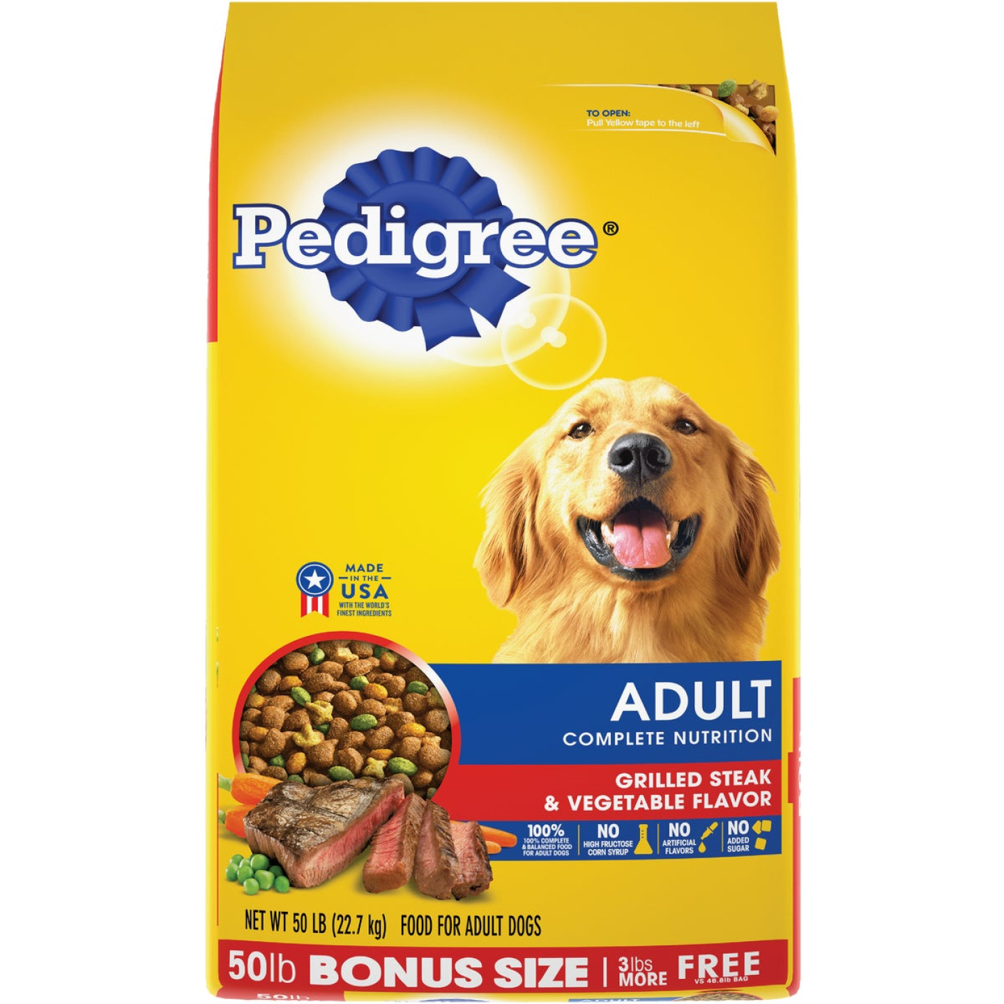 Pedigree Complete Nutrition 50 Lb. Grilled Steak & Vegetable Adult Dry Dog Food Image 1