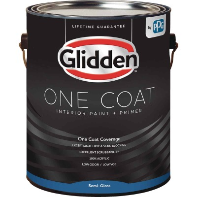 Glidden One Coat Interior Paint + Primer Semi-Gloss White Pastel Base 1 Gallon