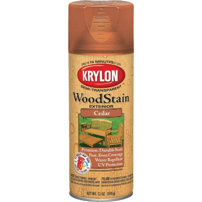 Krylon 12 Oz. Exterior Semi-Transparent Wood Stain Spray, Cedar